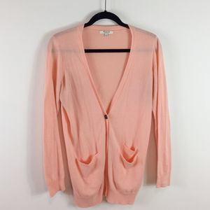 Madewell The Long Cardigan in Pink Size Medium